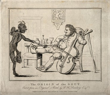 V0010849 A gouty man drinking wine and playing the cello; the pain is